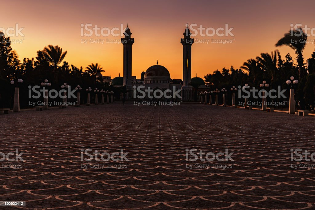 Mausoleum of the first president in Monastir at the evening. Tunisia, Africa. stock photo