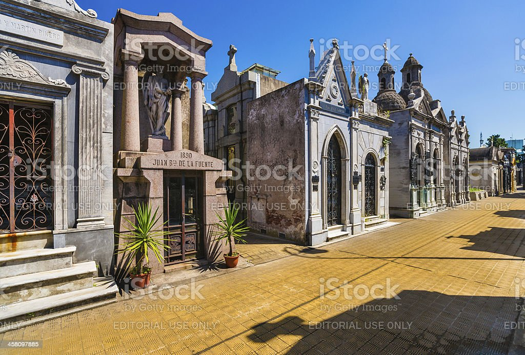 Mausoleums at Recoleta Cemetery in Buenos Aires, Argentina stock photo