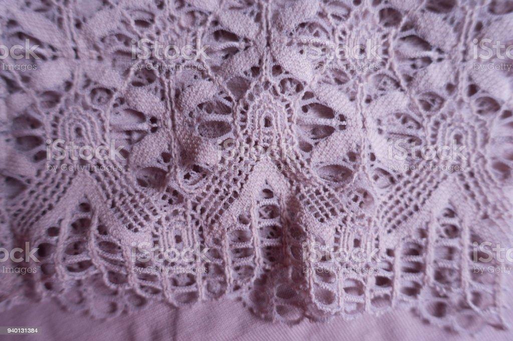 Mauve old fashioned lacy fabric (close shot) stock photo