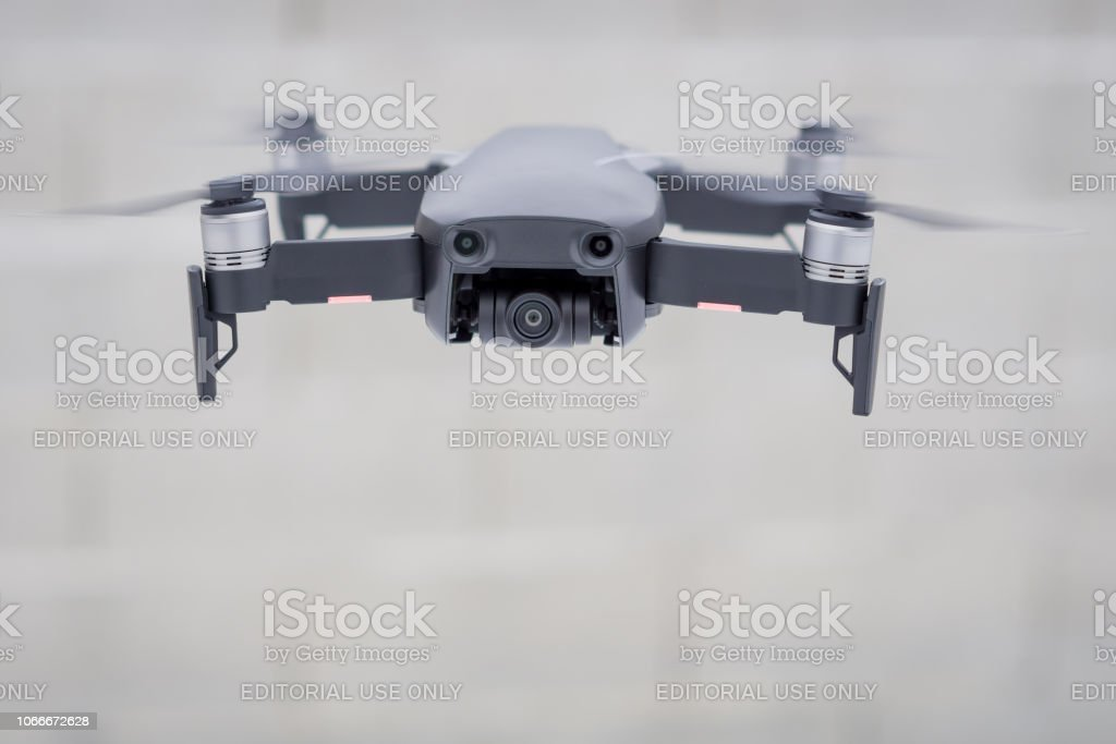 Pancevo - Serbia . DJI Mavic Air drone flying mid air on cloudy day...