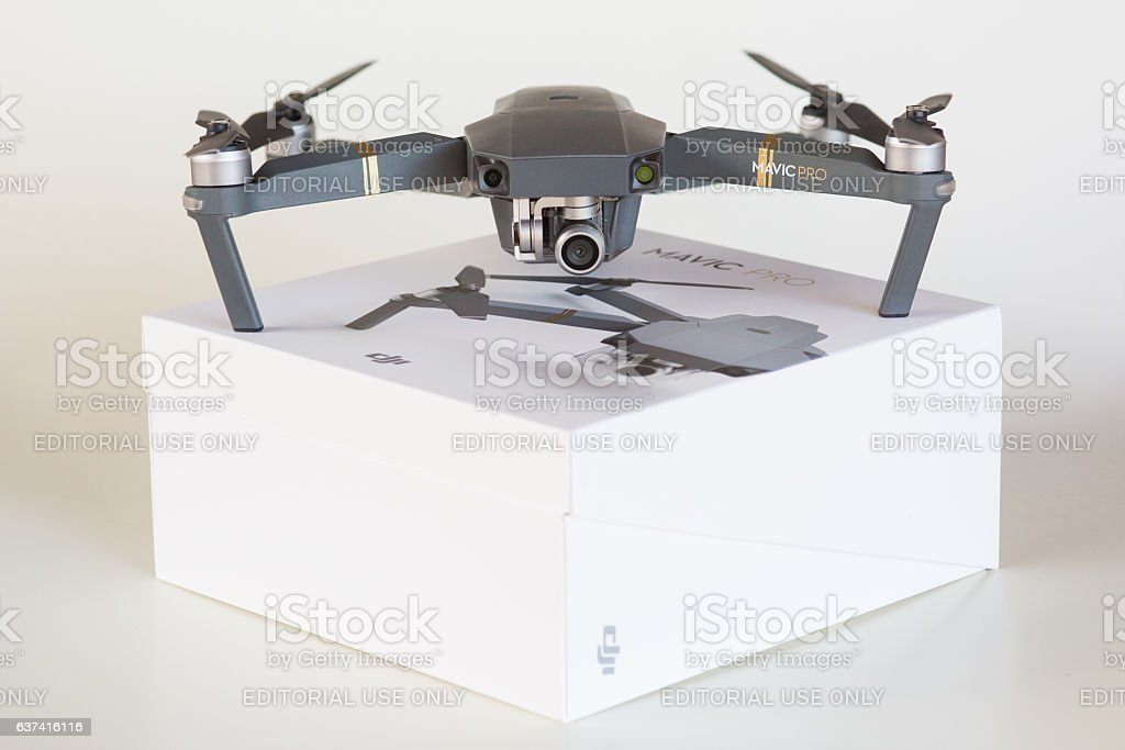 Dji Mavic Pro Drone With Its Packaging On White Background Stock