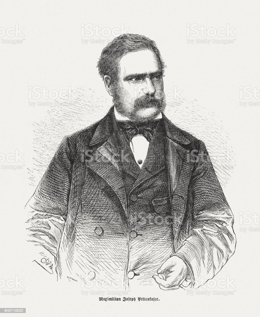Max Josef Pettenkofer (1818-1901), Bavarian chemist, wood engraving, published 1865 stock photo