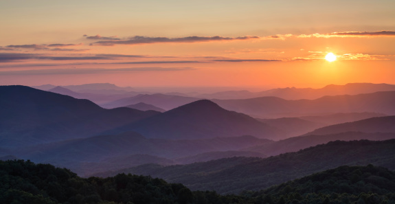 Sunset over the Appalachian Mountains looking into the Great Smoky Mountains National Park, North Carolina and Tennessee.