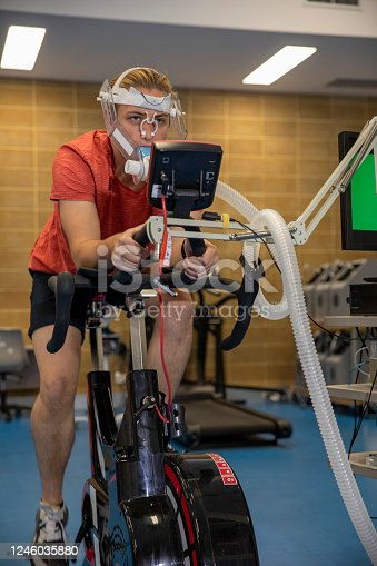 A shot of a student in a sports science laboratory performing a VO2 Max Test at a university in Perth, Australia.