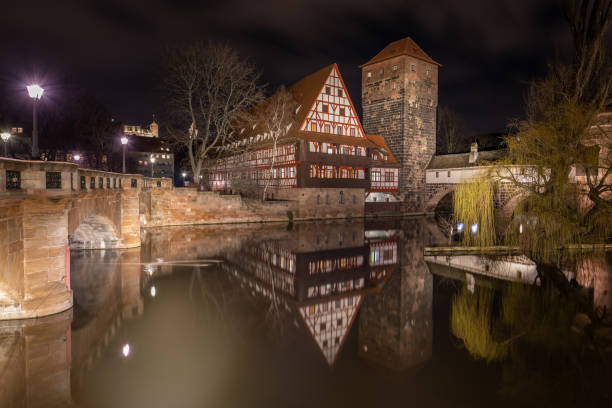 Maxbrücke with view on Weinstadl and Pegnitz river stock photo