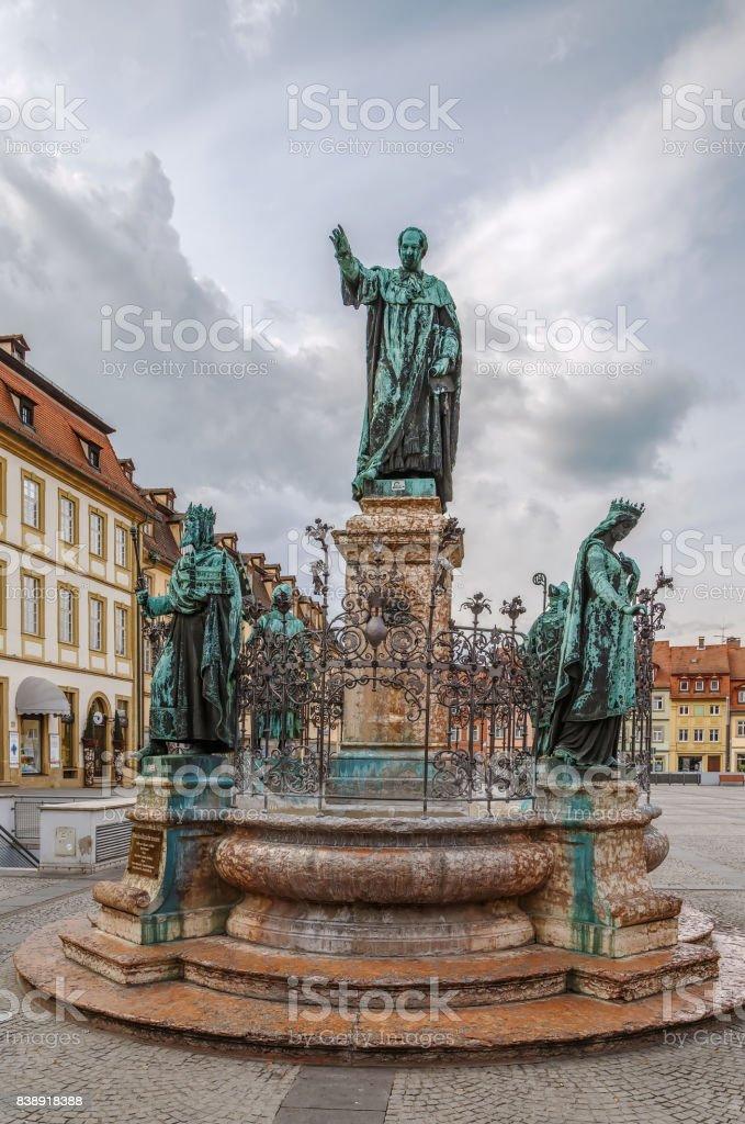 Maximilian fountain, Bamberg, Germany stock photo