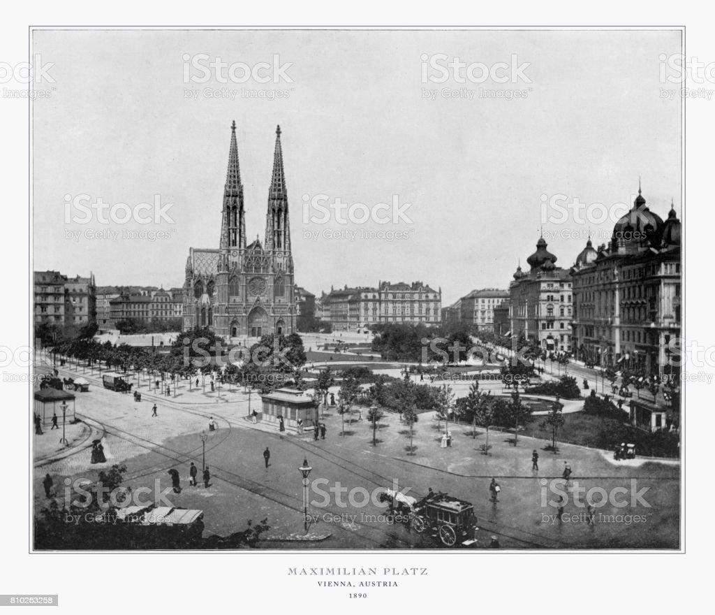 Maximilian Platz, Vienna, Austria, Antique Austria Photograph, 1893 stock photo