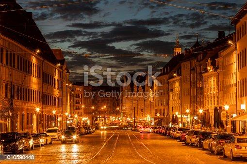 istock Maximilianstrasse at dusk, Augsburg, Bavaria, Germany. 1010590448