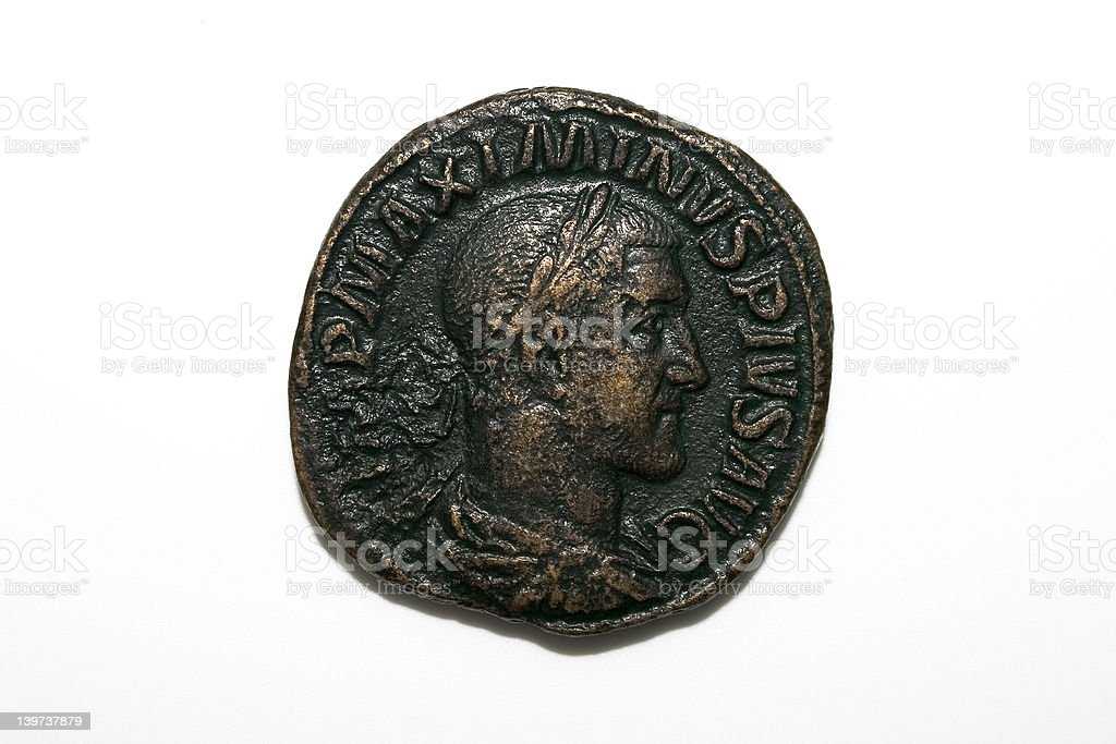 Maximinus roman coin stock photo