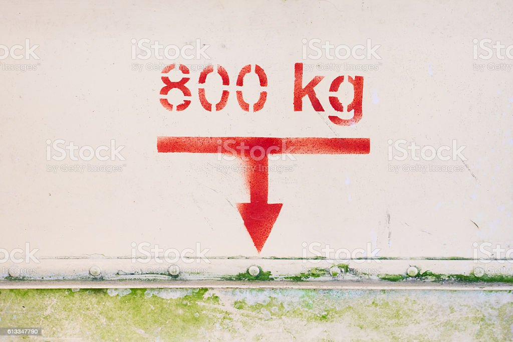 Maximum load of 800 kg on this old airplane stock photo