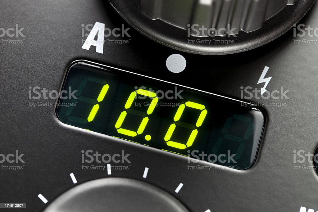 Maximum power. LED digital display. stock photo