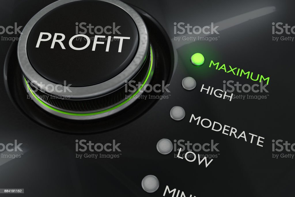 Maximum profit concept. Button for maximize income. 3D rendered illustration. stock photo