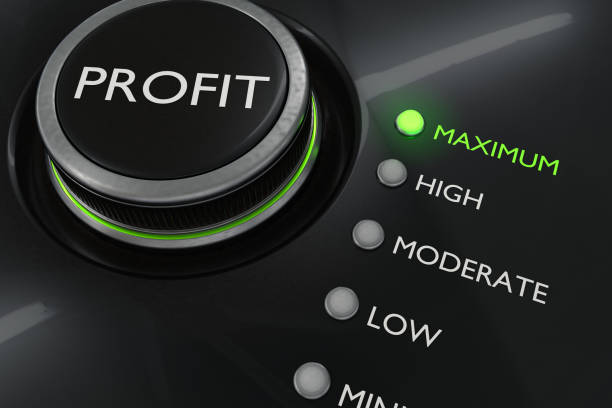 Maximum profit concept. Button for maximize income. 3D rendered illustration. stock photo