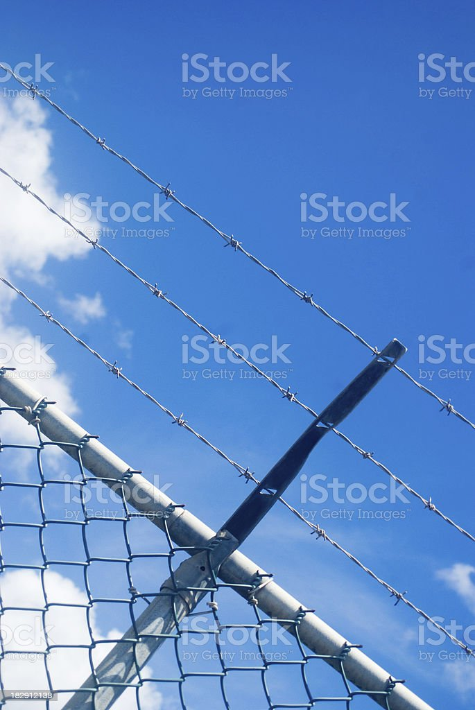 maximum security barbed wire fencing royalty-free stock photo