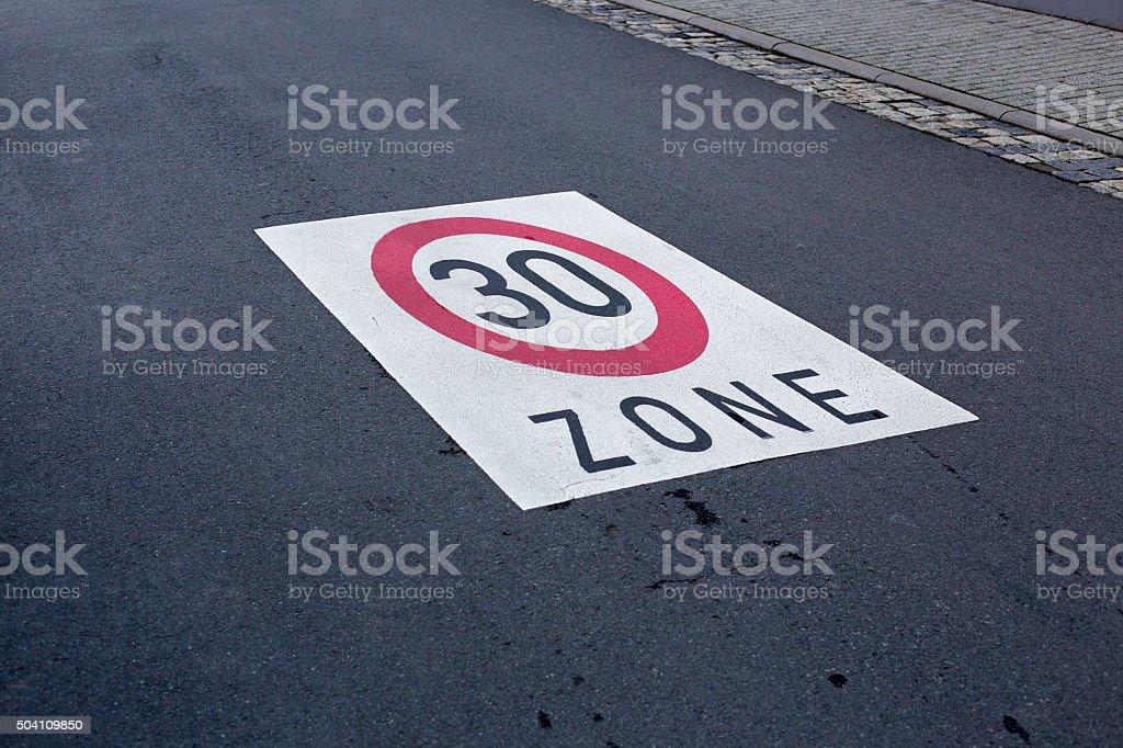 Maximum speed 30 stock photo