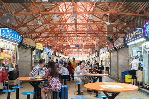 Singapore - March 18, 2016 : Maxwell food center is The Maxwell Road Hawker Food Centre is well known for its affordable, tasty and huge variety of local hawker food.