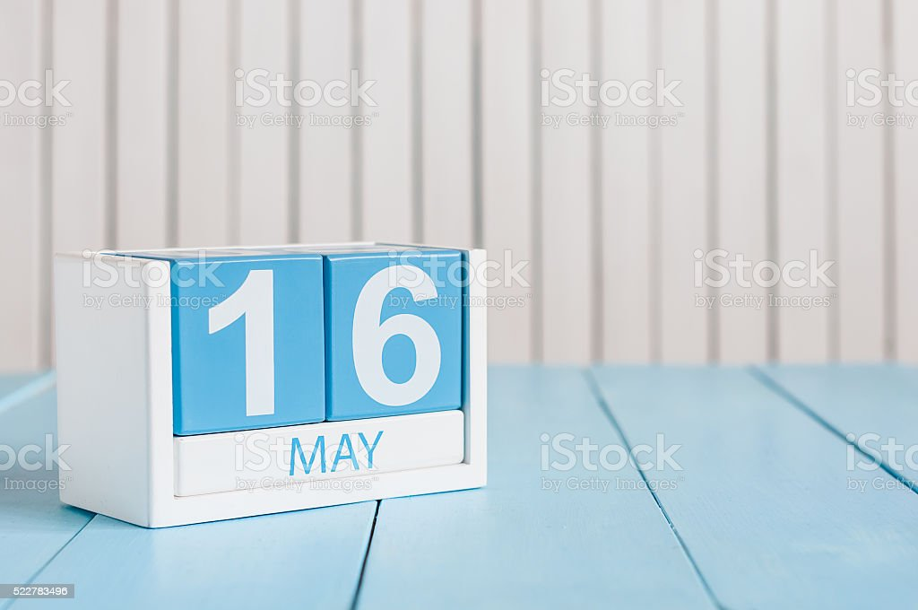 May 16th. Image of may 16 wooden color calendar on stock photo