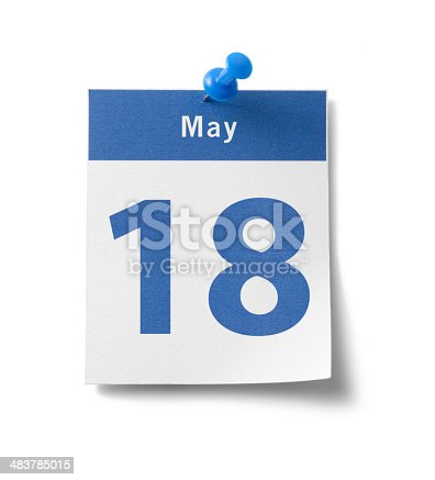 A photograph of a calendar page with a blue band and the date -