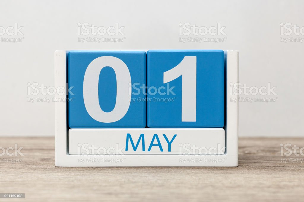 May 1st. Day 1 of month, countdown calendar close-up, at white background. Spring time stock photo