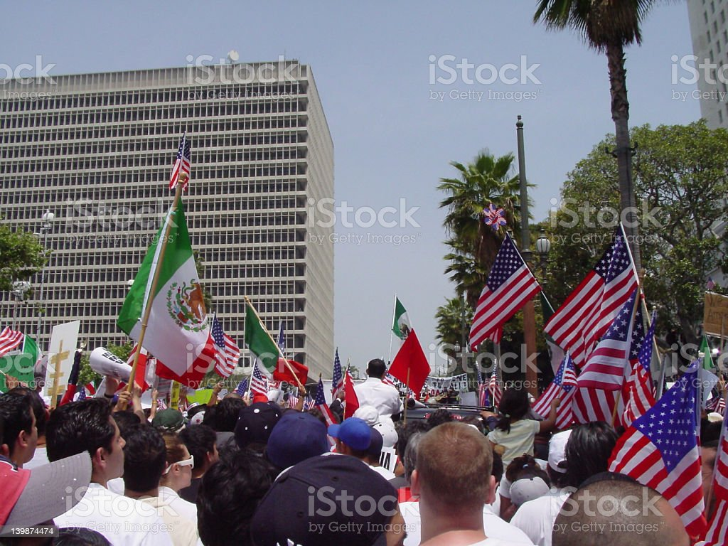 "May 1st Protests A photograph of the May 1st, ""Day without an Immigrant"" demonstration in Los Angeles, California. American Culture Stock Photo"
