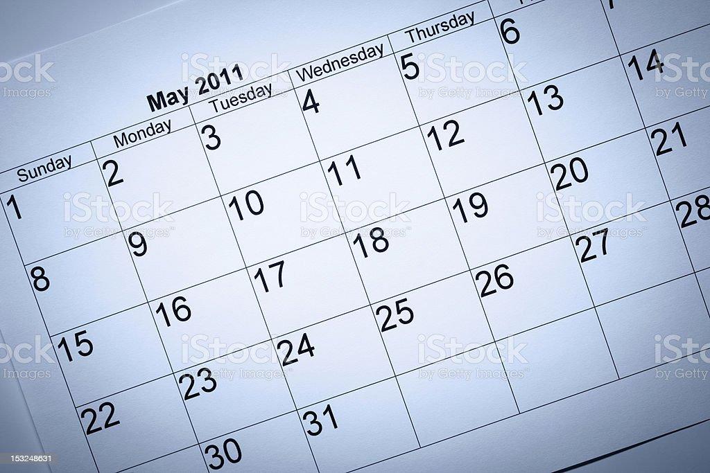 May 2011 calendar royalty-free stock photo