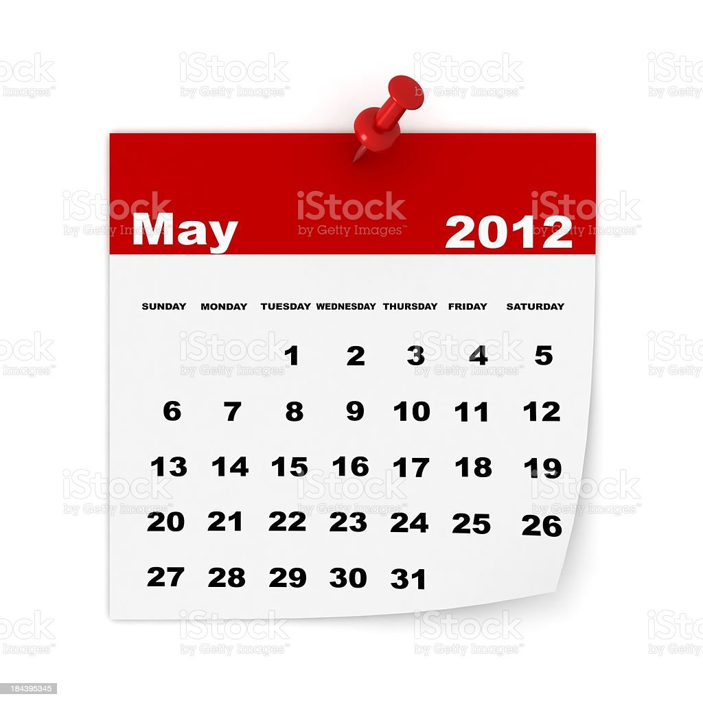 May 2012 Calendar royalty-free stock photo