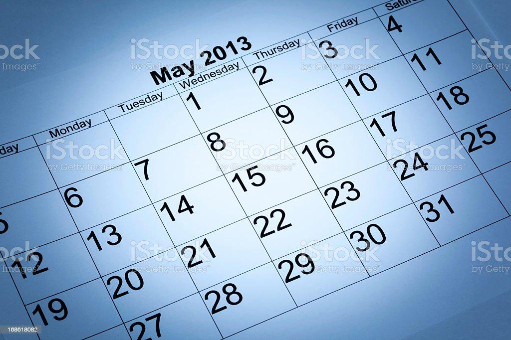 May 2013 calendar royalty-free stock photo