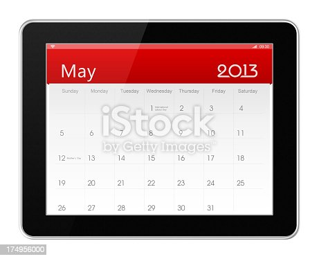May 2013 Calender on digital tablet (clipping path) isolated on white