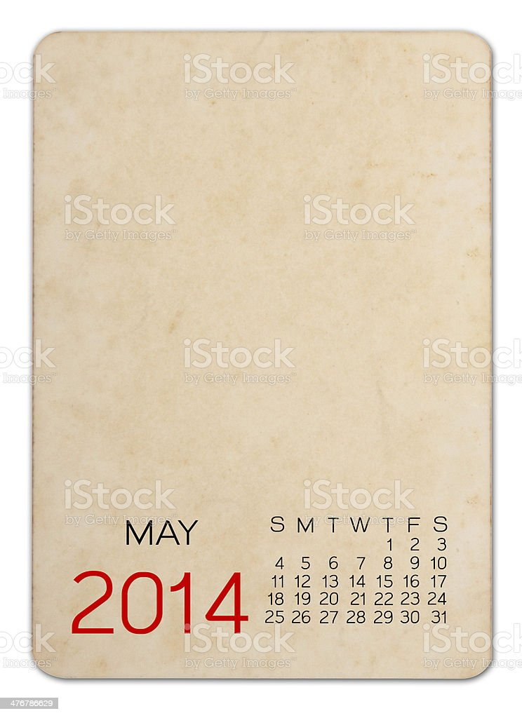 May 2014 calendar on the Empty old photo royalty-free stock photo