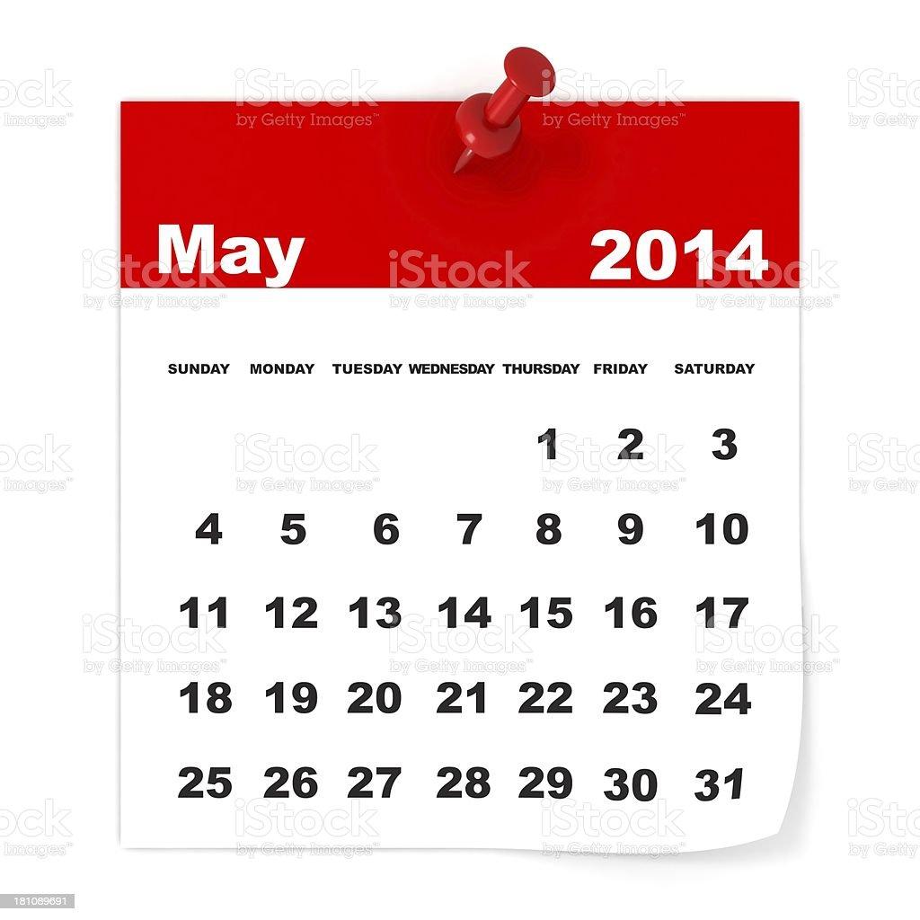 May 2014 - Calendar series royalty-free stock photo