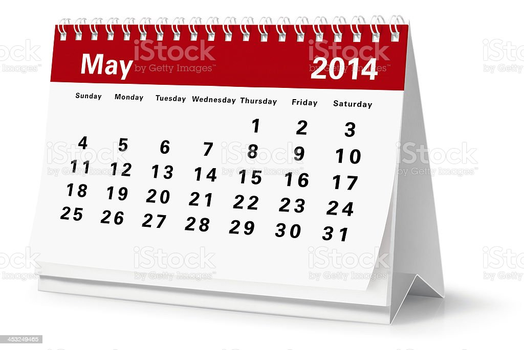 May - 2014 Desktop Calendar (Clipping Path) royalty-free stock photo