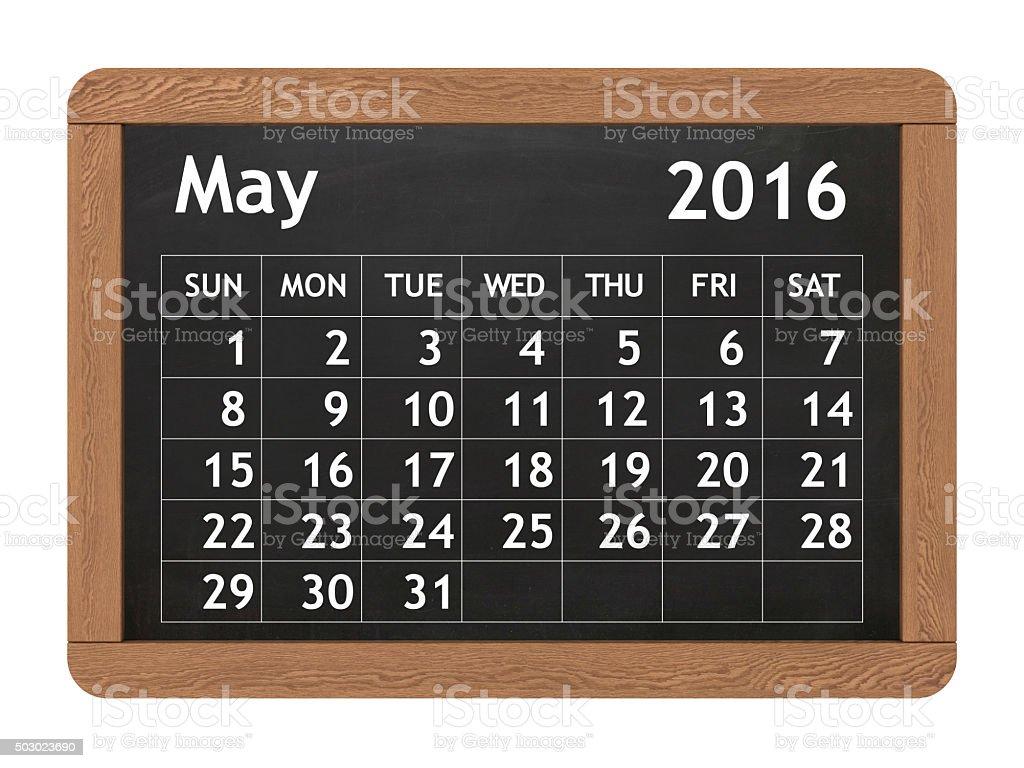 May 2016 calendar blackboard stock photo