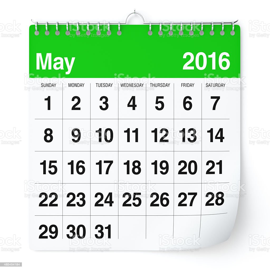 May 2016 - Calendar. stock photo