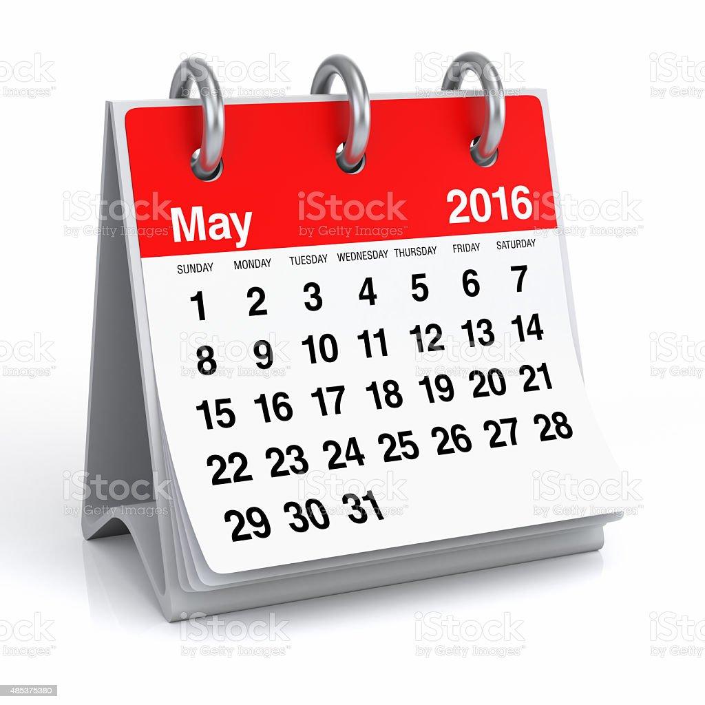May 2016 - Desktop Spiral Calendar stock photo