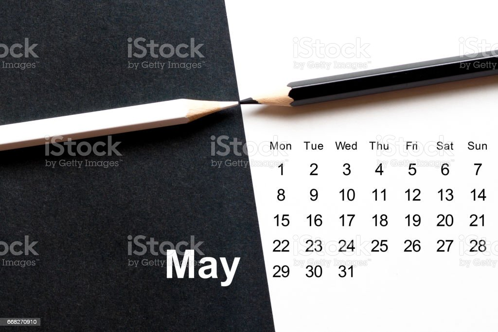may 2017 black and white stylish calendar foto stock royalty-free