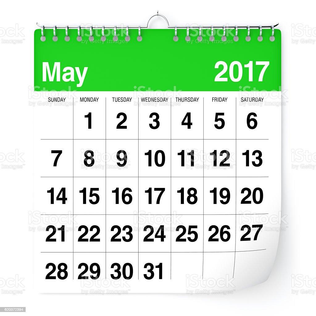 Kalendarz - maja 2017 r. zbiór zdjęć royalty-free