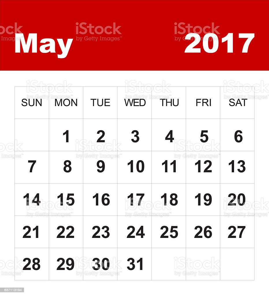 May 2017 calendar stock photo