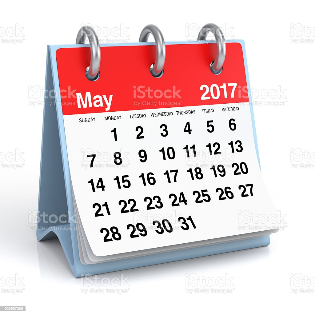 May 2017 - Desktop Spiral Calendar. stock photo