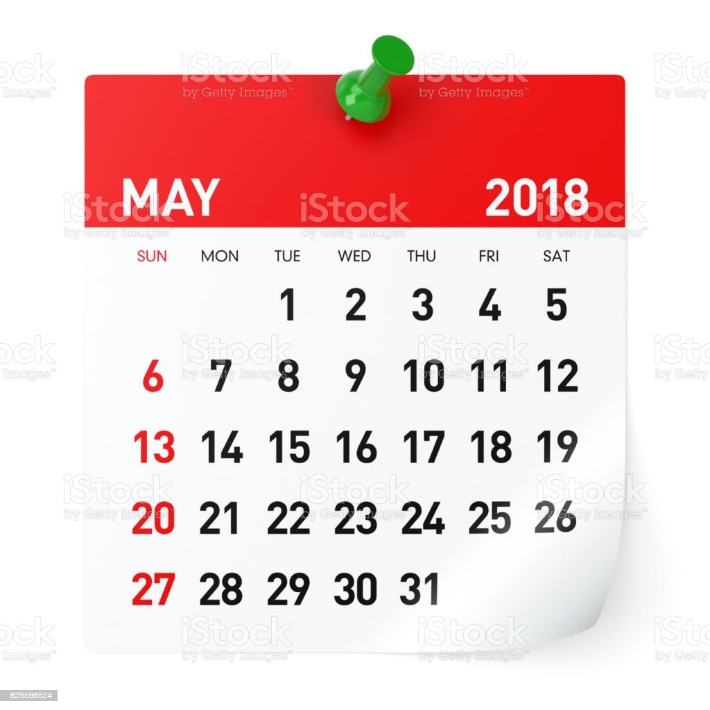 May 2018 - Calendar stock photo