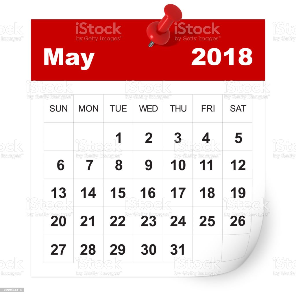 May 2018 calendar stock photo