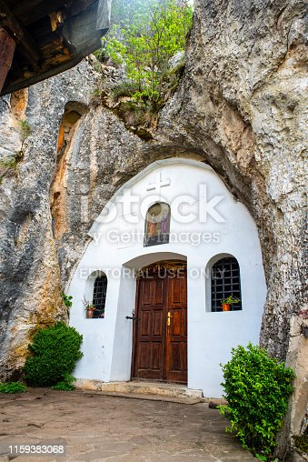 02 May 2019, village Rupovci, Serbia, 14th-century cave church of St. Peter and Paul