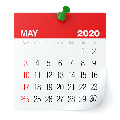 istock May 2020 - Calendar. Isolated on White Background. 3D Illustration 1168941233