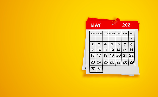 May 2021 calendar on yellow background