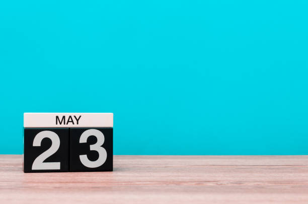 may 23rd. day 23 of month, calendar on turquoise background. spring time, empty space for text - number 23 stock photos and pictures