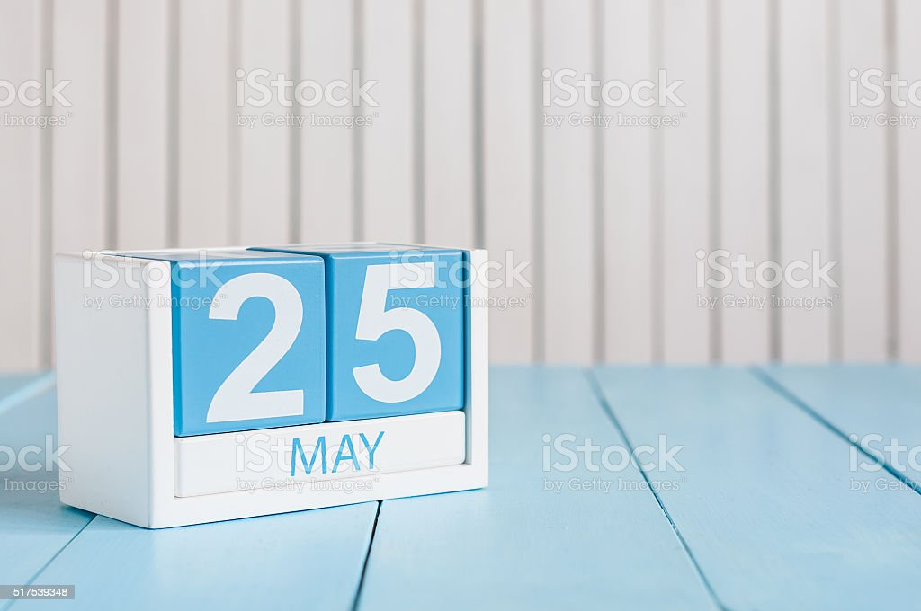 May 25th. Image of may 25 wooden color calendar on stock photo