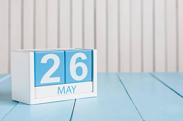 26 de mayo. Imagen del 26 de mayo de madera de Color calendario - foto de stock