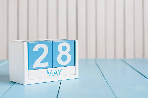 28 de mayo. Imagen del 28 de mayo de madera de Color calendario - foto de stock