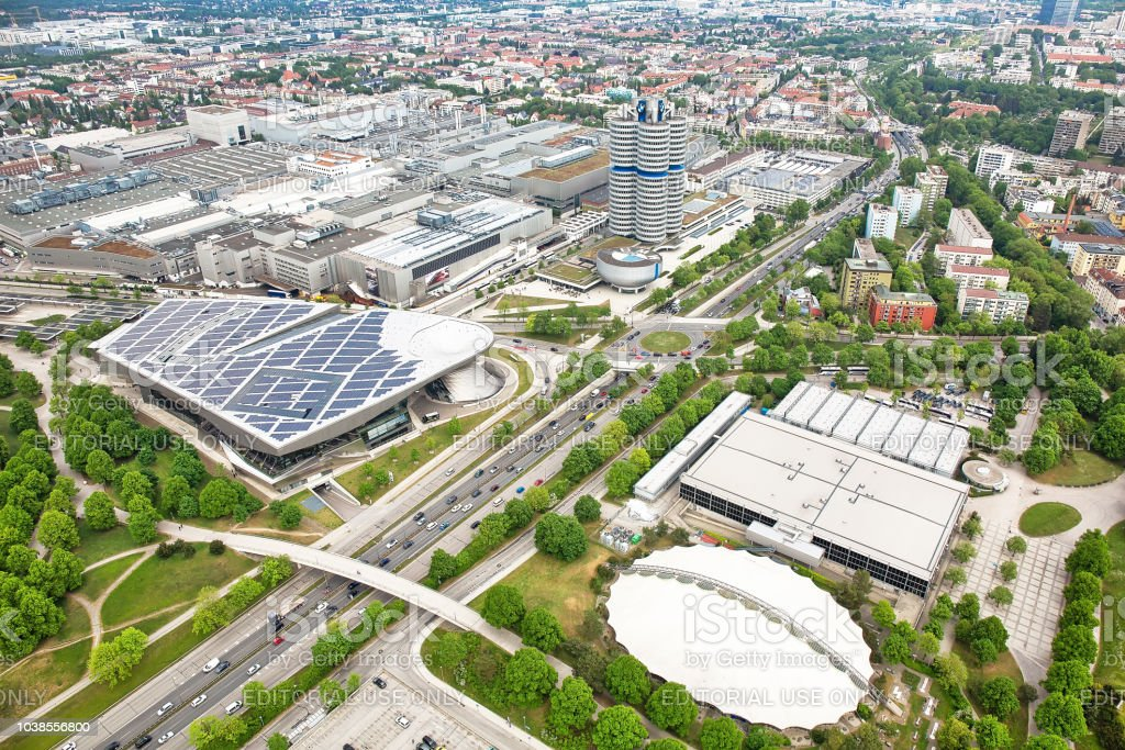 MUNICH, GERMANY - May 3rd, 2018: Aerial view to BMW headquarters, BMW World museum and BMW plant from Olympia Tower stock photo