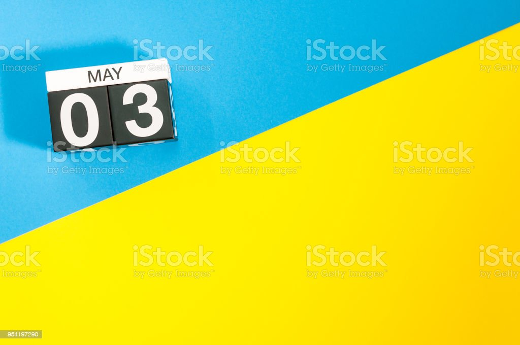 May 3rd Day 3 Of May Month Calendar On Blue And Yellow Background
