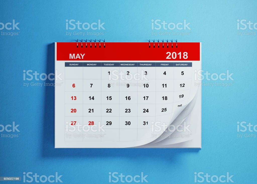 May Calendar On Blue Background stock photo